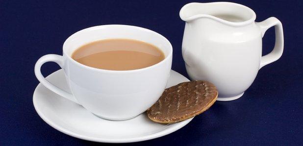 Tea milk and digestive stock image
