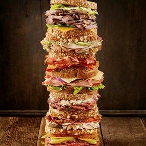 Sandwiches piled stock photo