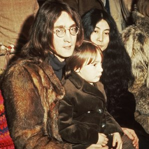 John and Julian Lennon and Yoko Ono