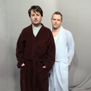 David Mitchell and Robert Webb on Peep Show set