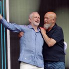 Jeremy Corbyn and Michael Eavis at Glastonbury 201